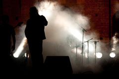 Siluette sous tension de concert Photographie stock libre de droits