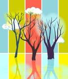 Siluette stilizzate dell'albero Fotografia Stock