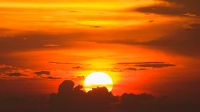 Siluette of Sunset at chonburi,thailand in summer Royalty Free Stock Photo