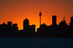 Siluette of Sunset at Sydney, Australia Royalty Free Stock Images