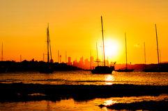 Siluette of Sunset Stock Photography