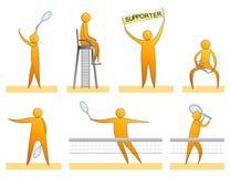 Siluette umane di tennis Fotografie Stock