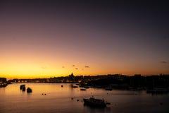 Siluette Valletta, ξημερώματα, Μάλτα στοκ εικόνες