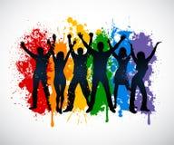 Siluette variopinte della gente che supporing l'impianto di perforazione di LGBT Fotografia Stock Libera da Diritti