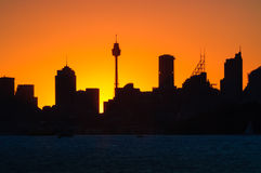 Siluette zmierzch przy Sydney, Australia Obraz Stock