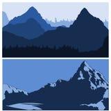 Siluettes van bergen stock illustratie