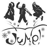Siluetu jump Stock Images