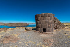 Silustani tombs peruvian Andes Puno Peru Stock Photo