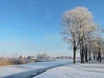 Silute镇在冬天,立陶宛 免版税库存图片