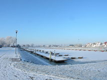 Silute Marina in winter, Lithuania Royalty Free Stock Photo