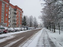 Silute town street in winter, Lithuania Stock Photos