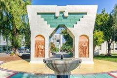 Silva Family Fountain and Cesar Chavez Monument stock photo