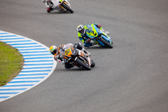 Silva and Rivas pilot of MOTO2 in the CEV. JEREZ DE LA FRONTERA, SPAIN - NOV 20: MOTO2 motorcyclist Ivan Silva and Daniel Rivas takes a curve in the CEV Royalty Free Stock Images