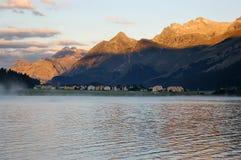 Silvaplana Lake and Swiss Alps at Dawn Stock Photo