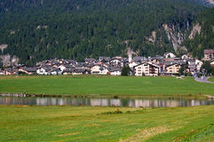 Silvaplana Lake and Village - Swiss Alps Royalty Free Stock Photography