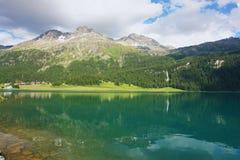 Silvaplana, Switzerland. Lake Silvaplana in the Swiss Alps, Switzerland Stock Images