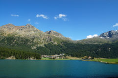 Silvaplanersee - Silvaplana Lake and Swiss Alps Royalty Free Stock Images