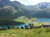 Silvaplanersee and Surlej village, Switzerland Royalty Free Stock Photos