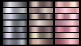 Free Silve, Bronze, Rose Gold Pink Metallic Foil Texture Vector Gradients Set Stock Photography - 147175052