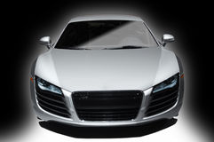 Silve sports car. Silver sports car on a white and black background Royalty Free Stock Photography