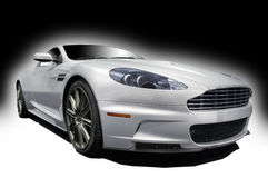 Silve sports car. Silver sports car on a white and black background Stock Image