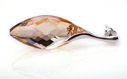 Silverörhängen med den Swarovski kristallen Arkivfoto