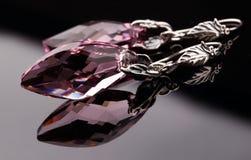 Silverörhängen med den Swarovski kristallen Fotografering för Bildbyråer