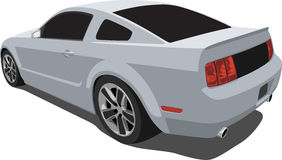 Silver 2008 Mustang Muscle Car. A Vector .eps illustration of a 2008 Ford Mustang GT. Saved in layers for easy editing. See my portfolio for more automotive stock illustration