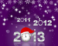 Silver 2011, 2012 and 3d 2013 with clock. New Years card. Silver 2011, 2012 and 3d 2013 with clock in Santas hat. Vector Royalty Free Stock Photography