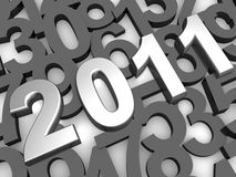 Silver 2011 year background. Silver 2011 year with overlapping numbering as background 3d illustration Stock Photo