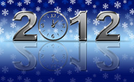Silver 2012 Happy New Year Clock with Snowflakes Royalty Free Stock Photos