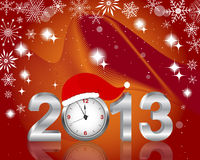 Silver 2013 with clock in Santas hat. Royalty Free Stock Photography