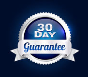 Silver 30 Day Quality Badge. Silver 30 day money back guarantee badge Stock Photography