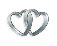 silver 3d blåa hjärtor länkad ihop royaltyfri illustrationer