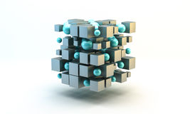 Silver 3D Blocks and spheres. White background Stock Image