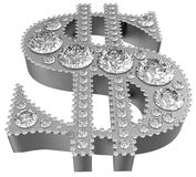 Silver 3D Dollar symbol incrusted with diamonds Royalty Free Stock Photos