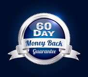 Silver 60 Day Guarantee Badge stock illustration