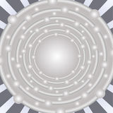 Silver abstract background with circle shape in optical art style, concentric circles with uneven distributed spheres Stock Images