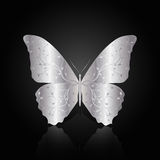 Silver abstract butterfly on black background Stock Image