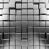 Silver abstract cubes. High quality 3d render Royalty Free Stock Images