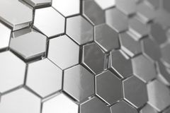 Silver abstract hexagonal background with depth of field effect. Structure of a large number of hexagons. Steel. Honeycomb wall texture, shiny hexagon clusters Royalty Free Stock Photos
