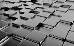 Silver abstract image of cubes background. 3d render Stock Photography