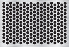 Silver abstract metal background with holes and light reflection. Vector illustration Stock Photography