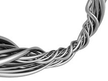 Silver abstract string wire artwork background Royalty Free Stock Photos