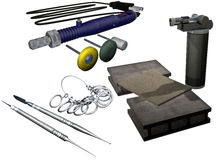 Silver accessories manufacture set Stock Photo