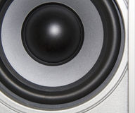 Silver acoustic system. Macro for background Royalty Free Stock Photography