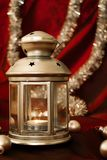 Silver advent lantern with Christmas balls. And silver tinsel royalty free stock images