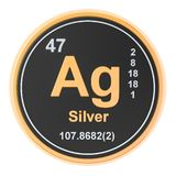 Silver Ag chemical element. 3D rendering. Isolated on white background vector illustration