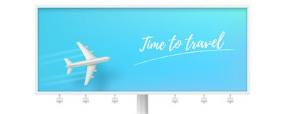 Silver airplane in blue sky on billboard. Time to travel. Flying plane on blue background. The concept of advertising. Banner for travel agencies, travel. Plane stock illustration