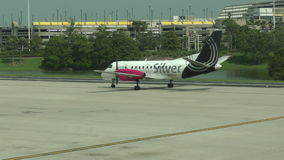 Silver Airways propeller airplane stock video footage
